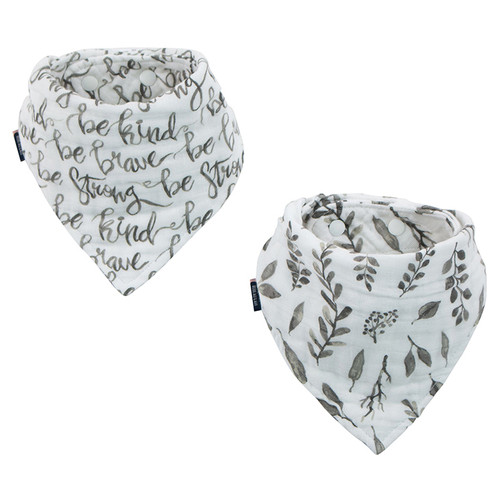 Muslin Bandana Bib Set, Just Be/Leaves