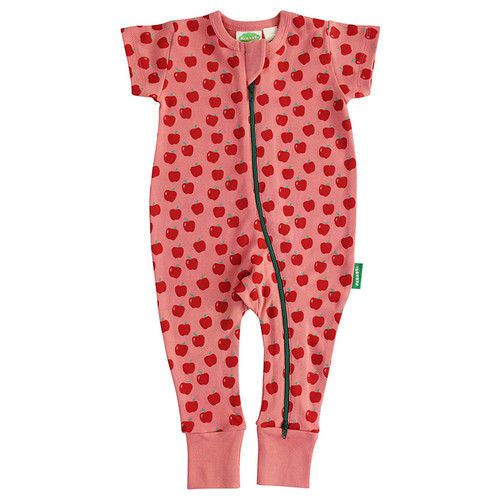 Organic Short Sleeve Zip Romper, Coral Apples