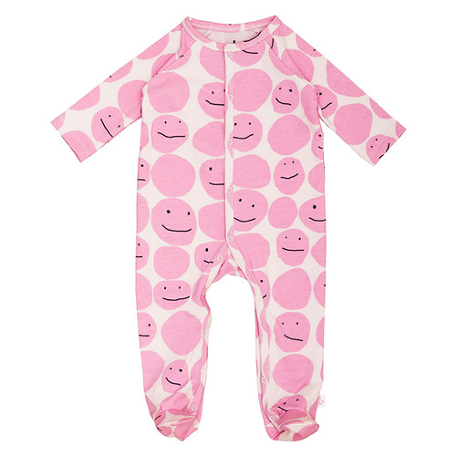 Footed Romper, Pink Smiley