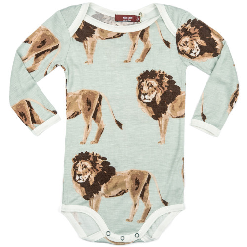 Bamboo Long Sleeve Bodysuit, Lion