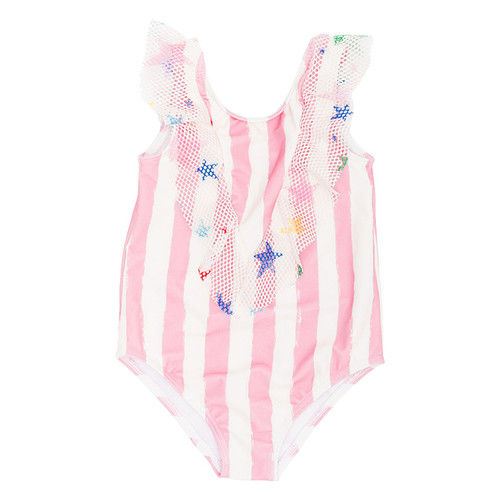 Ruffle Swimsuit, Pink Stripes