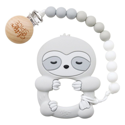 Teether with Clip, Sloth