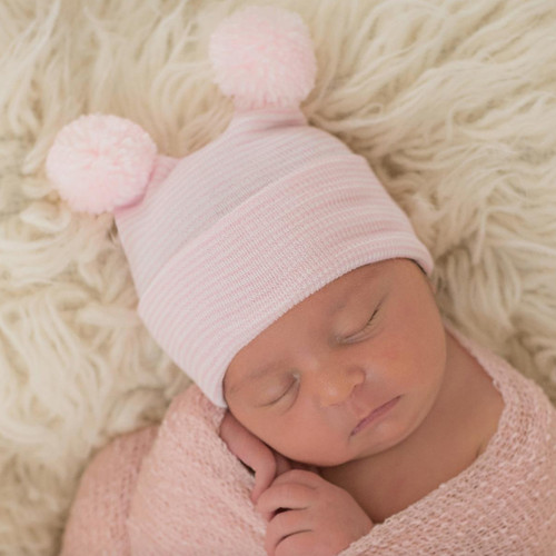 Newborn Double Pom Hat, Pink/White Stripe