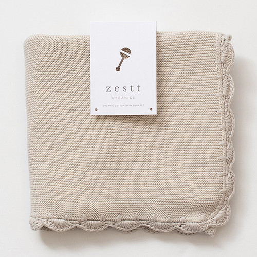 Organic Cotton Heirloom Baby Blanket, Mist