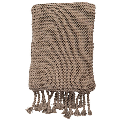 Organic Knit Throw, Stone