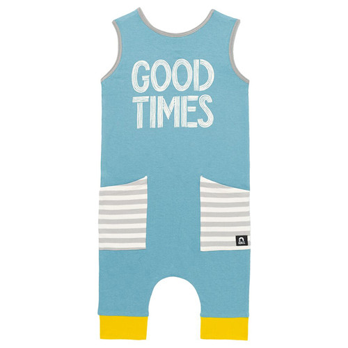 Sleeveless Hip Pocket Romper, Good Times