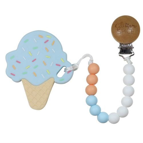 Teether with Clip, Cotton Candy Ice Cream
