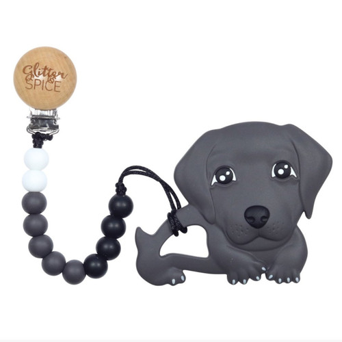 Teether with Clip, Weiner Dog