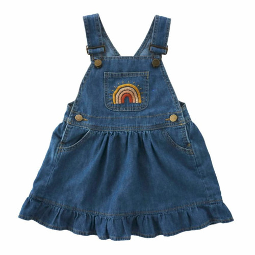 Lucy Overall Dress, Denim Rainbow