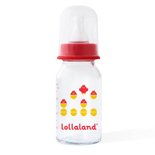 Glass Baby Bottle, 4 OZ Red