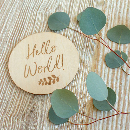 Wooden Keepsake Disc, Hello World