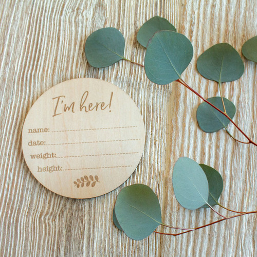 Wooden Keepsake Disc, Birth Announcement