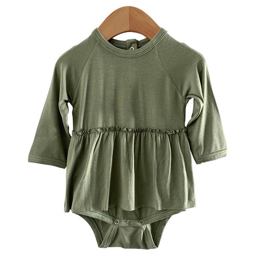 Long Sleeve Skirted Bodysuit, Sage