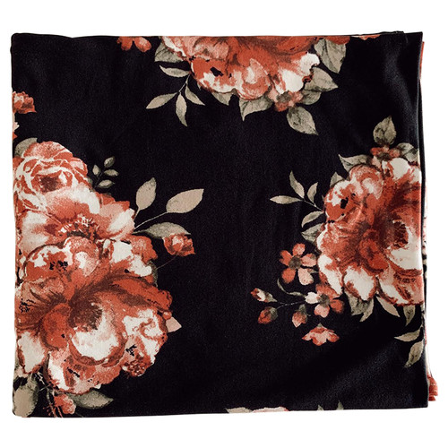 Jersey Stretch Swaddle, Black/Dusty Rose Floral