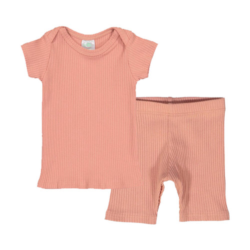 Short Sleeve Ribbed 2-Piece Outfit, Apricot