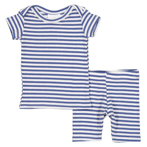 Short Sleeve Ribbed 2-Piece Outfit, Blue Stripe