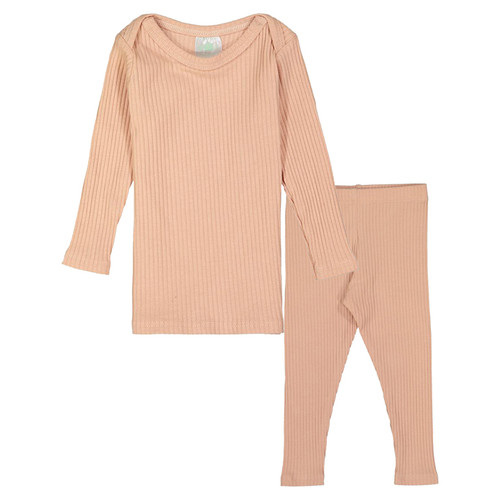 Long Sleeve Ribbed 2-Piece Outfit, Blush