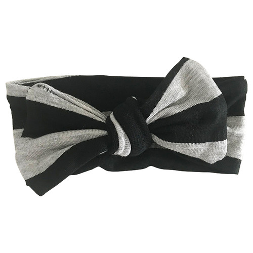 Bow Headband, Black & Grey Stripe
