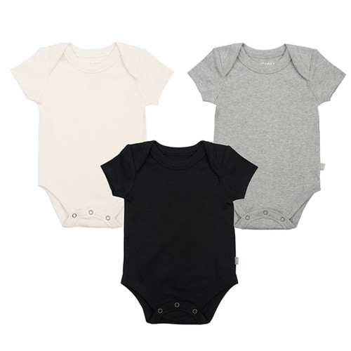 Organic Cotton Short Sleeve 3-Pack Bodysuit, NEUTRALS