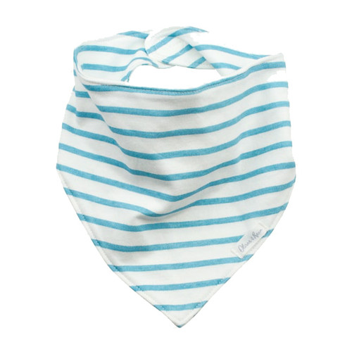 Organic Cotton Bandana Bib, Teal Stripe