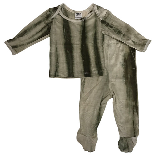Newborn Footed 2-Piece Outfit, Olive Green Tie Dye