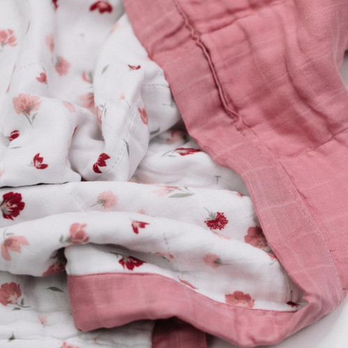 4-Layer Muslin Quilt, Pink Posies