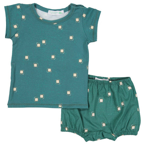 Shirt & Bloomer Set, Jade Pyrography