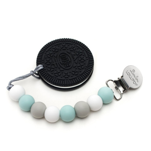 Chocolate Cookie Silicone Teether, Blue/Grey