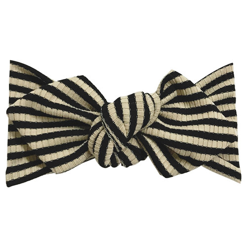 Top Knot Headband, Ribbed Taupe/Black Stripe