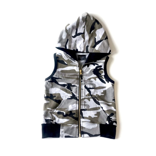 Zip Hooded Vest, Camo