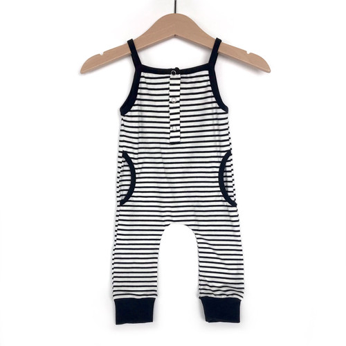 Tank Stripe Jumpsuit, Black