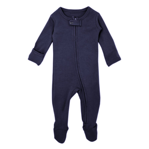 Organic Zipper Footed Romper, Navy