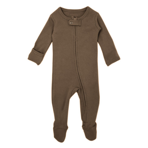 Organic Zipper Footed Romper, Bark