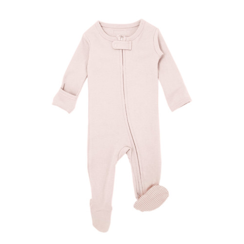 Organic Zipper Footed Romper, Blush