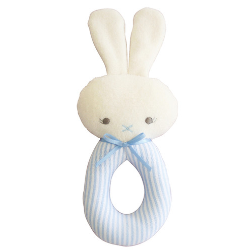 Bunny Grab Rattle, Blue Stripe