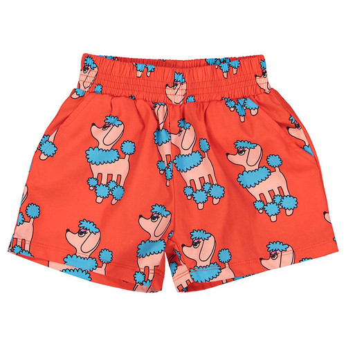 Summer Woven Short, Red Poodle