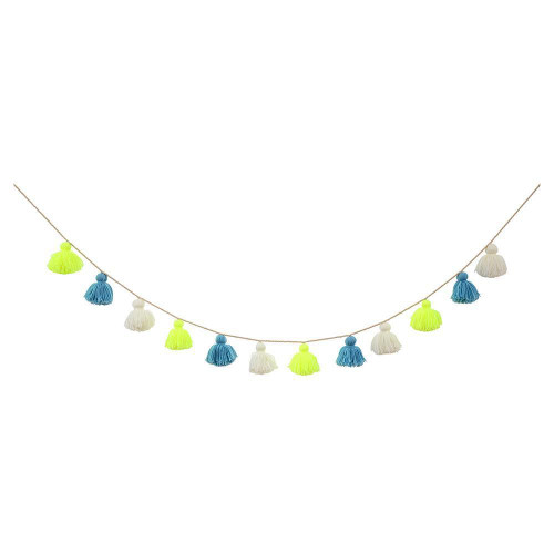 Blue Wool Tassel Garland