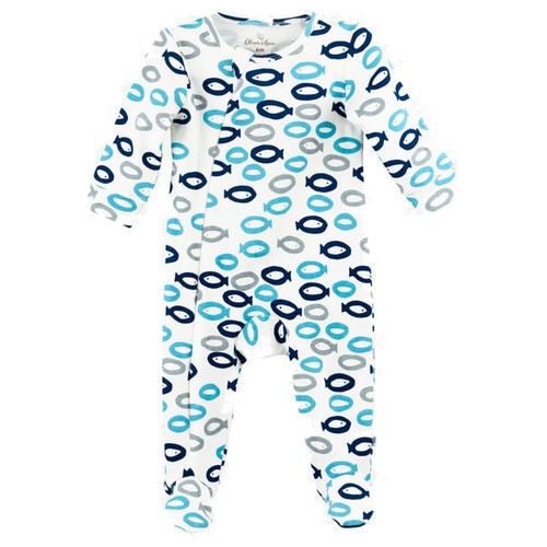 Organic Cotton Footed Zip Romper, Fish
