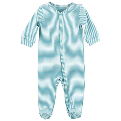 Organic Footed Romper, Teal Stripe