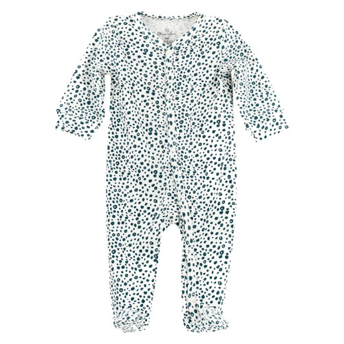 Organic Footed Romper, Blue Dot