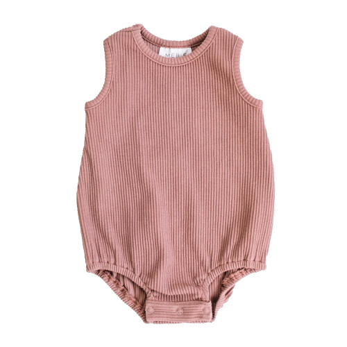 Ribbed Bubble Sleeveless Bodysuit, Dusty Rose
