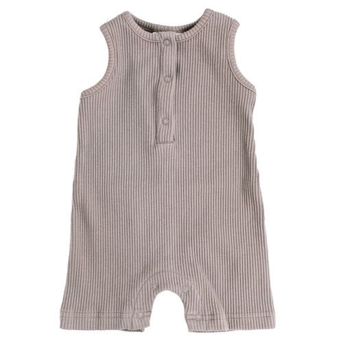 Ribbed Shorts Romper, Taupe