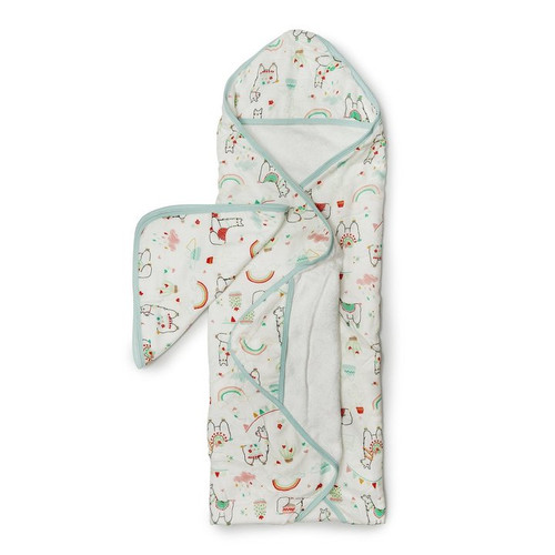 Terry Cloth & Bamboo Hooded Towel Set, Llama