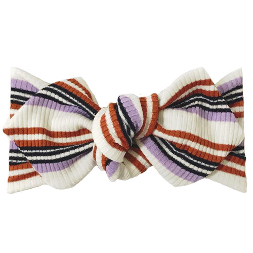 Top Knot Headband, Ribbed Lavender/Rust Stripe