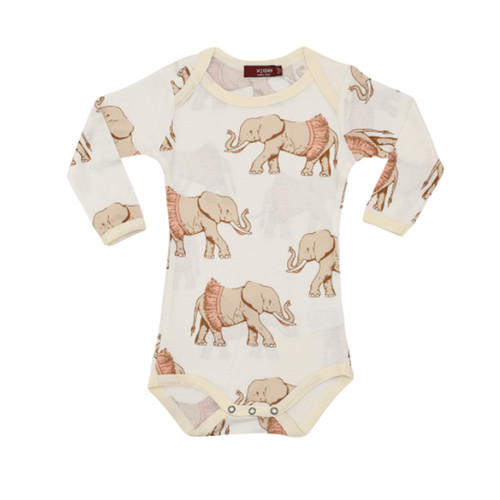 Bamboo Long Sleeve Bodysuit, Tutu Elephant