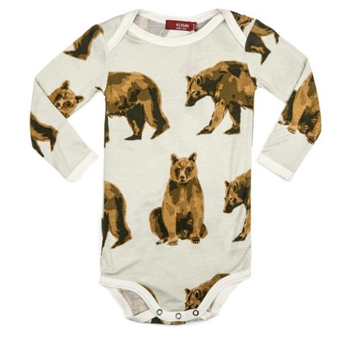 Bamboo Long Sleeve Bodysuit, Bear