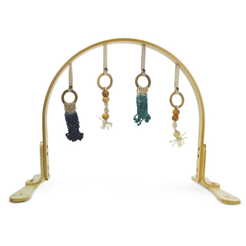 Macrame Navy/Teal Ombre Play Gym, Natural Wood