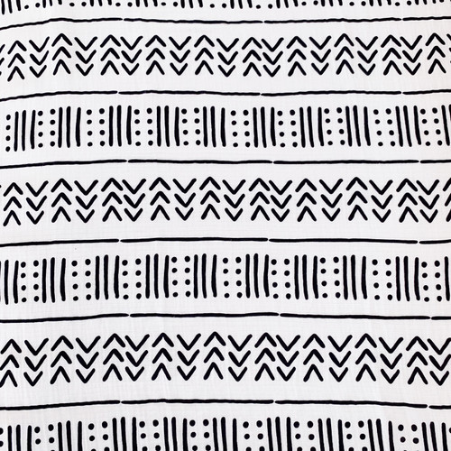 Muslin Changing Pad Cover, White/Black Mudcloth