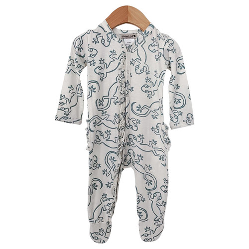 Ruffle Snap Footed Romper, Lizard Cloud White