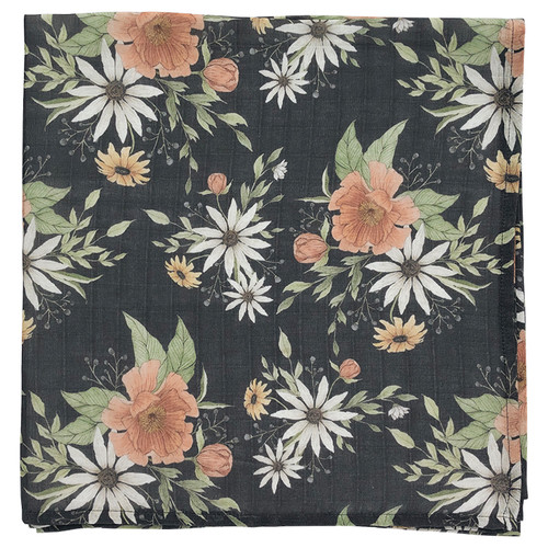 Muslin Swaddle, Charcoal Spring Blossom